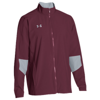 Under Armour Team Squad Woven Warm Up Jacket - Men's - Maroon / Grey