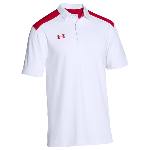 Under Armour Team Colorblock Polo - Men's Baseball - White/Red 94557101