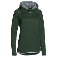 Under Armour Team Double Threat Fleece Hoodie - Women's - Dark Green / Grey