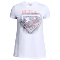 Under Armour Softball Logo Short Sleeve T-Shirt - Girls' Grade School - White / Navy