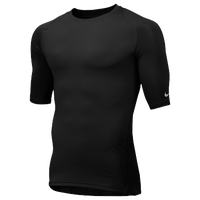 Nike Team Core 1/2 Sleeve Compression Top - Men's - All Black / Black