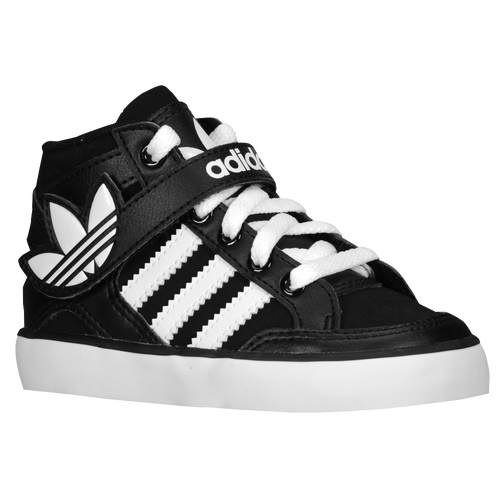 adidas Originals Hard Court Hi Strap - Boys' Toddler - Basketball - Shoes -  Black/Running White/Black