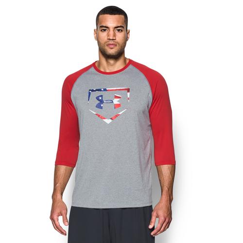 Under Armour Baseball Logo 3 4 Sleeve T Shirt Men 39 S