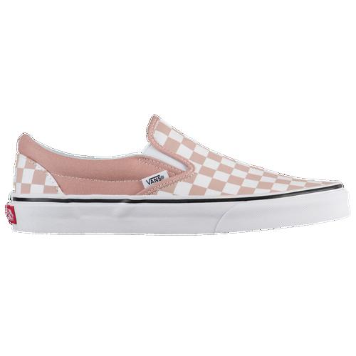 pink checkered slip on vans