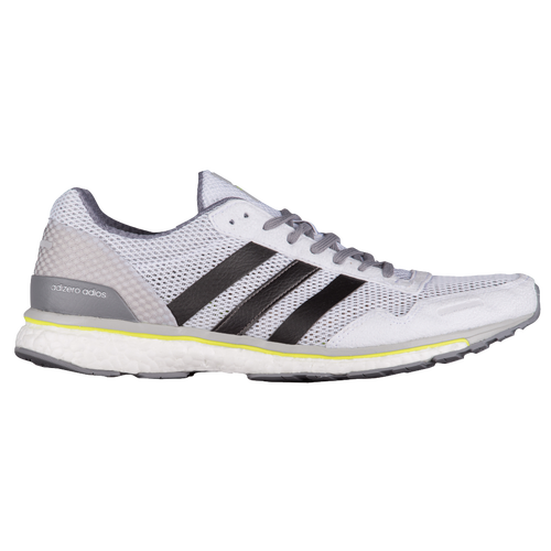 adidas adizero adios boost 3 men 39 s running shoes white trace grey metallic solar yellow. Black Bedroom Furniture Sets. Home Design Ideas
