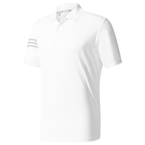 adidas Climacool 3-Stripes Golf Polo - Men's Golf - White/Mid Grey/Black BC1846
