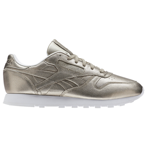 Discount Reebok Pearl Metallic Grey Classic Leather Trainers for Women Outlet