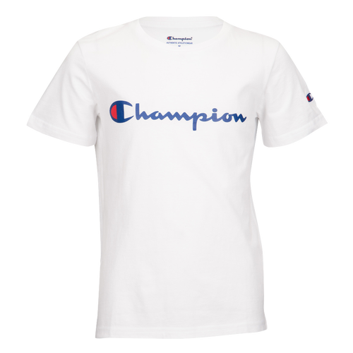 champion logo t shirt grade school casual clothing. Black Bedroom Furniture Sets. Home Design Ideas