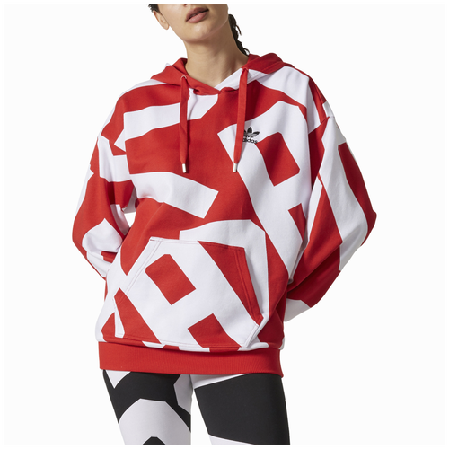 adidas Originals Bold Age Pullover Hoodie - Women's Casual - Collegiate Red/White CY7480