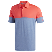 adidas Ultimate Heathered Blocked Golf Polo - Men's - Blue / Red