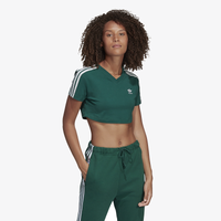 adidas Originals 3-Stripe Cropped T-Shirt - Women's - Dark Green