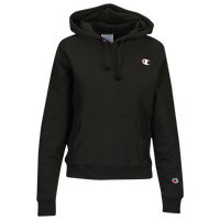 Champion Logo Pullover Hoodie - Women's - All Black / Black