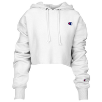 Champion Reverse Weave Cropped Cut Off Hoodie - Women's - White