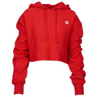 Champion Reverse Weave Cropped Cut Off Hoodie - Women's - Red