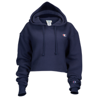 Champion Reverse Weave Cropped Cut Off Hoodie - Women's - Navy