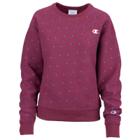 Champion All Over Print Script Logo Crew - Women's - Purple