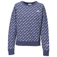 Champion All Over Print Script Logo Crew - Women's - Navy