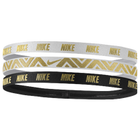 Nike Metallic Headbands 3 Pack - Women's - White / Black