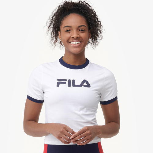 Fila Tionne Crop T-Shirt - Women's Casual - White/Peacoat SW003100