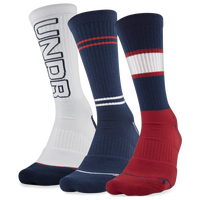 Under Armour Phenom 4.0 3 Pack Crew Socks - Men's - Red / Navy