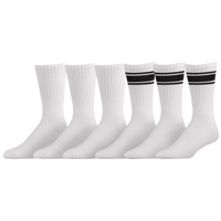 Under Armour Charged Cotton 2.0 6PK Stripe Crew Socks - Men's - White / Black