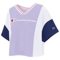 Champion Colorblock Crop T-Shirt - Women's - Purple / White