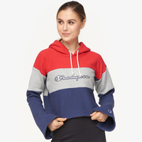 Champion Cropped Colorblock Hoodie - Women's - Red / Grey