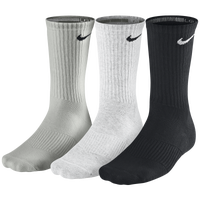 Nike 3 Pack Moisture MGT Cushion Crew Socks - Men's - Grey / White