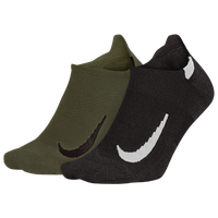 Nike Multiplier No-Show 2 Pack Socks - Black / Olive Green