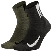 Nike Multiplier Quarter Socks - Black / Olive Green